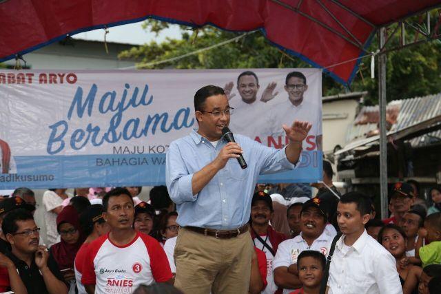 Anies kampanye di Kawasan Pesing, Jakarta Barat.