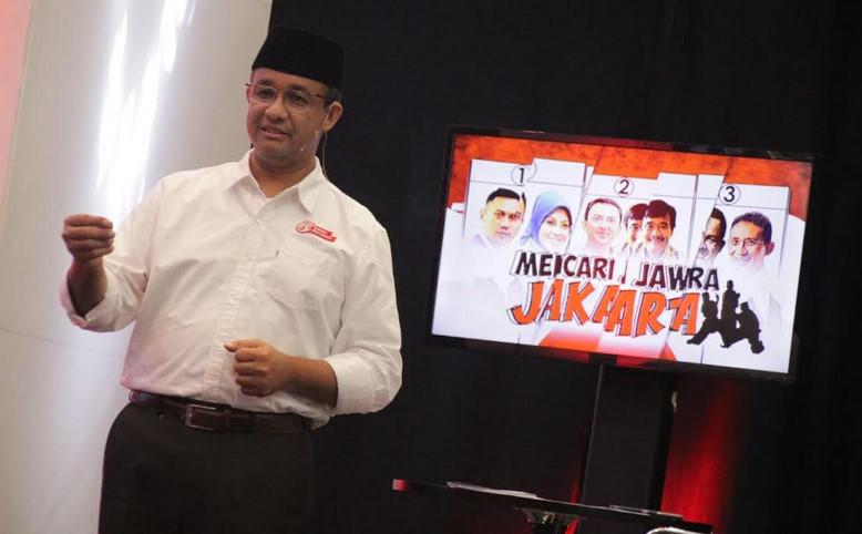 Cagub Anies Baswedan saat mengikuti program Mencari Jawara Jakarta di salah stasiun televisi di jakarta