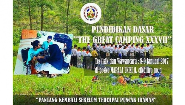 "Brosur kegiatan Mapala UII ""The Great Camping"" (ist)"