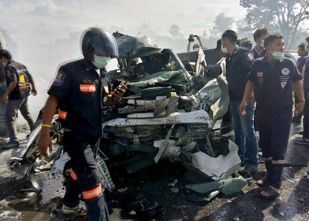 Laka lantas di Thailand/ BBC EPA