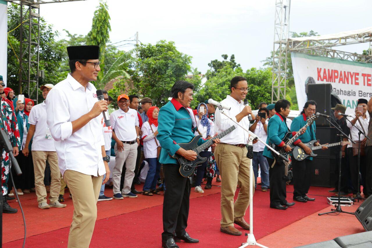 Paslon Gubernur DKI Jakarta Anies-Sandiaga mendapat dukungan Raja Dangdut Rhoma Irama.