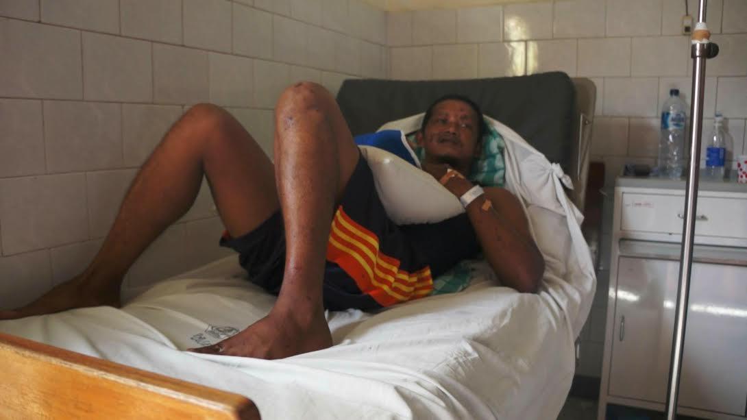 Sudarmanto usai menjalani operasi di RSD Ngudi waluyo