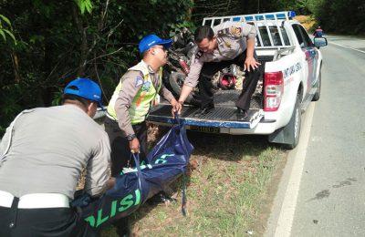 Petugas mengangkat jenazah korban tabrakan motor vs truk. (foto: das)
