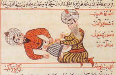 Tabib muslim melakukan pemeriksaan pasien diabad pertengahan