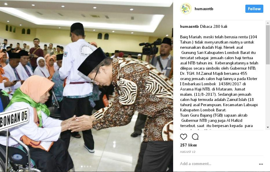 Gubernur NTB, Dr. TGH. M.Zainul Majdi dengan santun memberi salam kepada Baiq Maria sebelum berhaji ke Mekkah