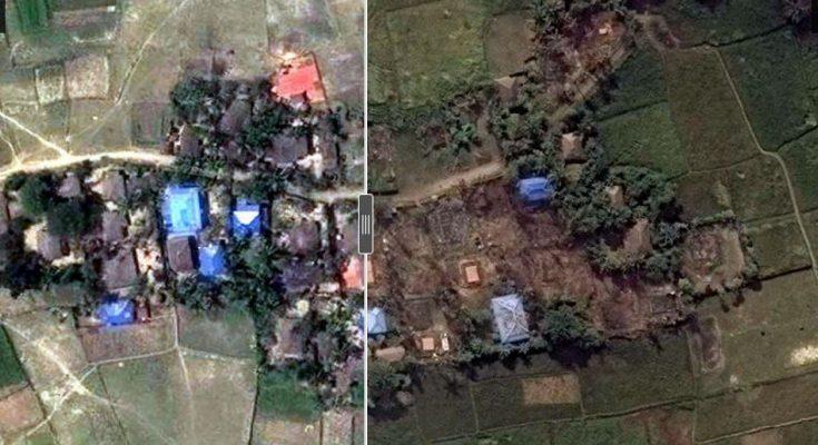 Foto citra satelit perkampungan Rohingya saat utuh dimasa lalu dan dalam kondisi rata tanah diwaktu dua tahun ini