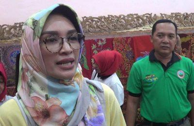 Bupati Probolinggo Puput Tantriana Sari, ketika diwawancarai awak media saat menghadiri sebuah acara di Kecamatan Krejengan Kabupaten Probolinggo.(foto: dic)