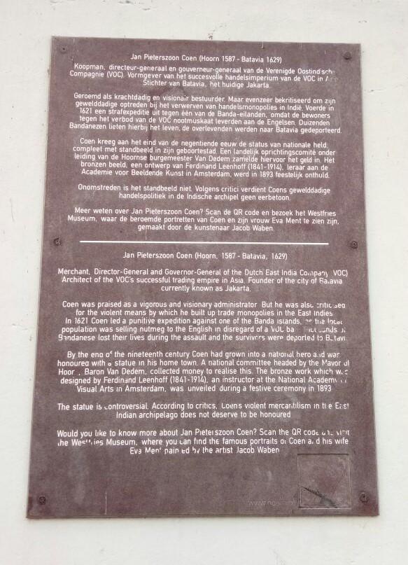 Teks versi perubahan yang akan dipasang oleh pemerintah Kotapraja Hoorn pada patung Coen. (foto; Hendrata Yudha)