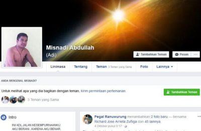 akun facebook milik Misnadi Abdullah (foto:dic))