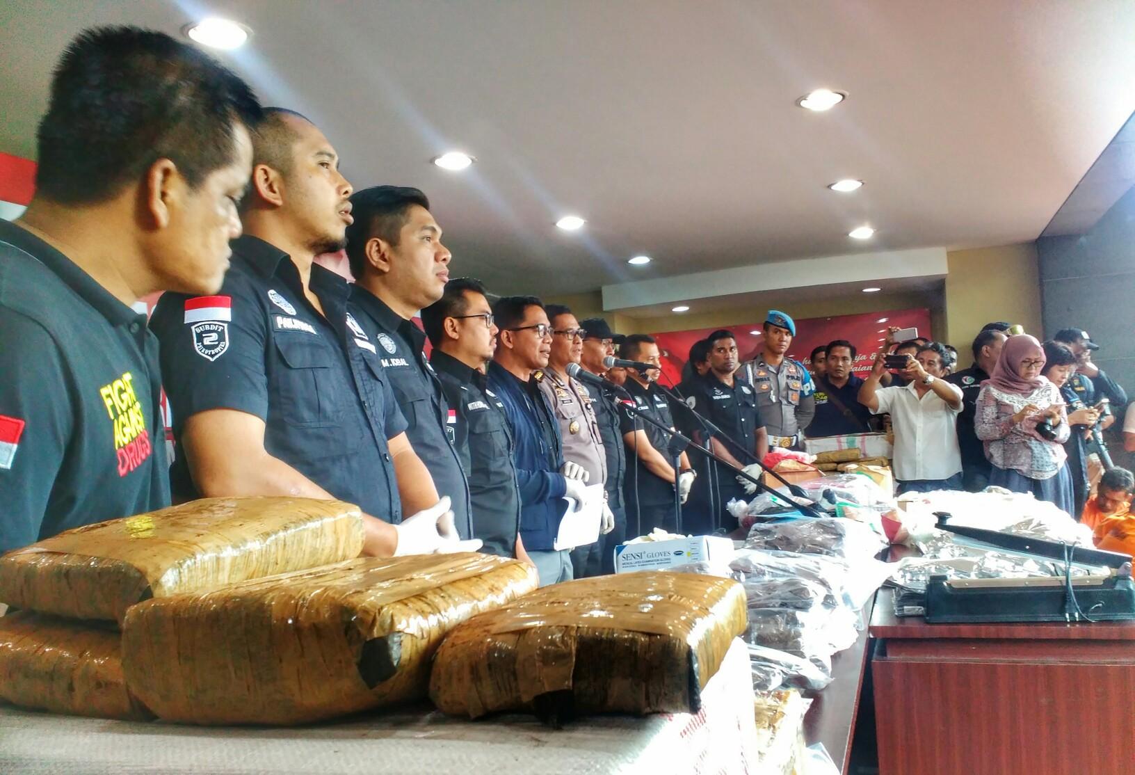 Barang bukti narkoba dalam rilis Operasi Nila Jaya 2017. (Tama)