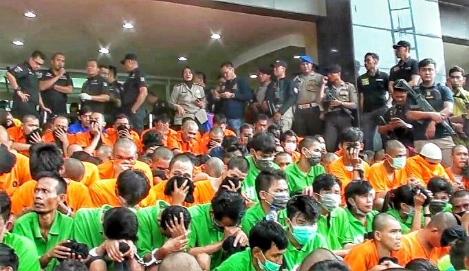 Para pelaku kejahatan narkoba yang ditangkap pada Operasi Nila Jaya 2017. (Tama)