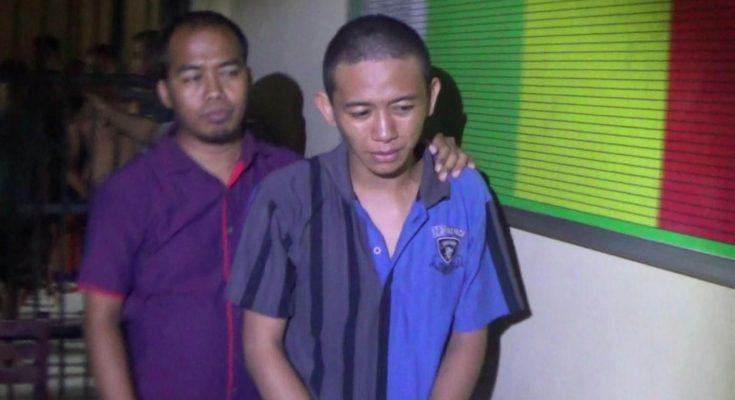 Tersangka penganiayaan Amirudin saat dilakukan penyidikan di Mapolres Probolinggo Jawa Timur.(dic)