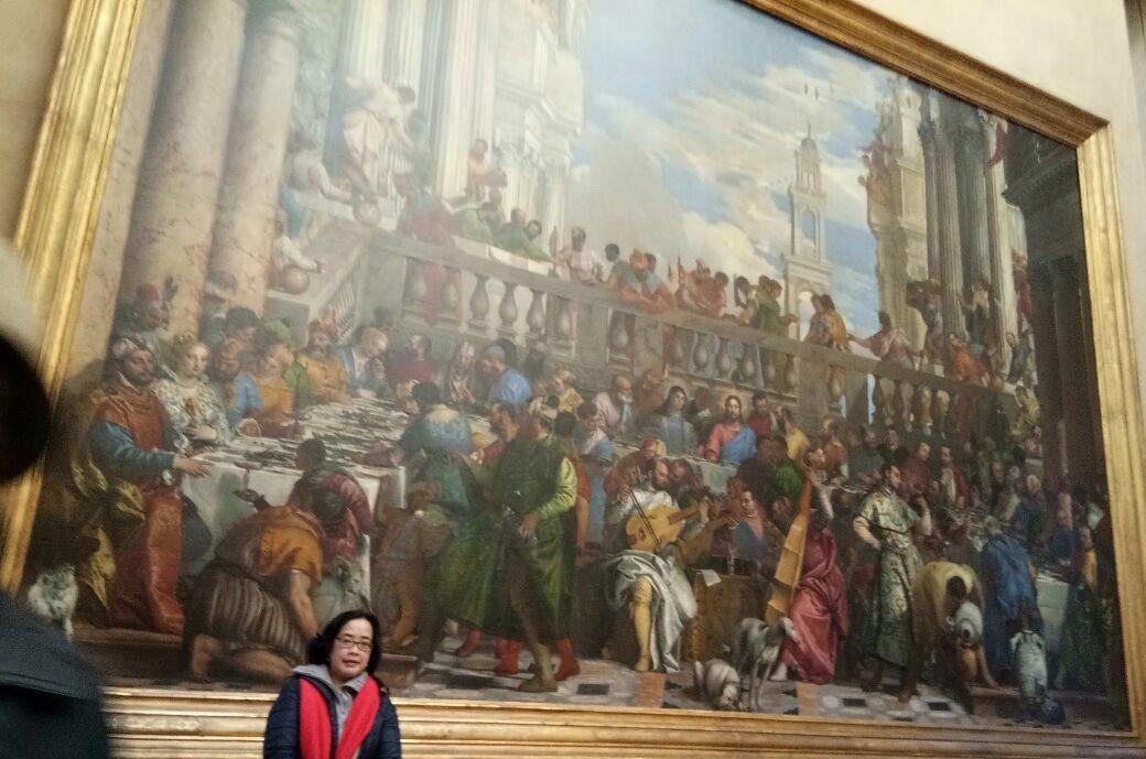 Lukisan gigantik karya Paolo Caliari de Veronese, Les Noces de Cana berukuran tinggi 6,77 m dan panjang 9.94
