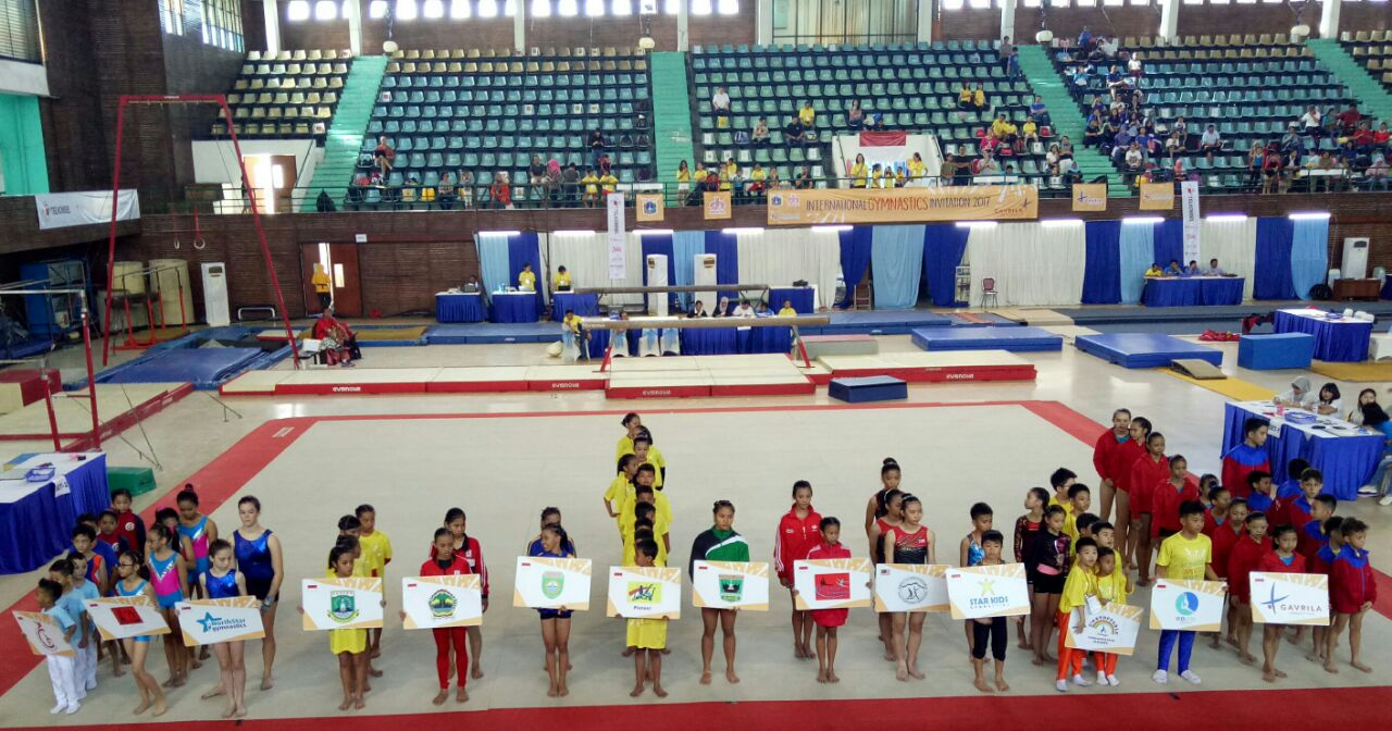 Event International Gymnastic Invitation 2017 di Gedung Senam DKI Jakarta,  Jakarta Timur, Minggu (10/12).