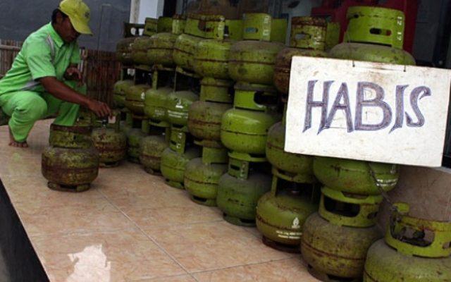 Tabung gas elpiji 3 kg langka di kota depok (foto:ist)