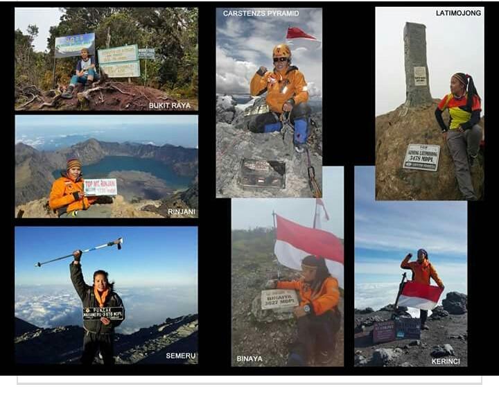 Berbagai foto sebagai bukti klaim pendaki puncak gunung tertinggi Indonesia, yang dikeluarkan laman the7summitindonesia.