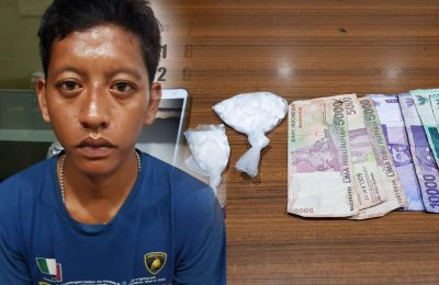 Tersangka dan barang bukti yang berhasil diamakan petugas satreskoba Polres Lumajang. (foto:ist)