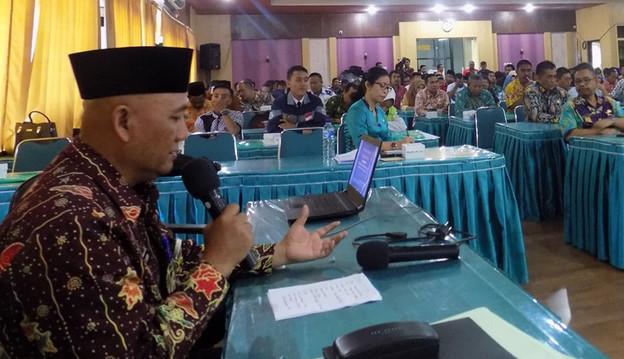 Sosialisasi pelaksanaan pendataan Data Tunggal Daerah-Analisis Kependudukan Partisipatif (DTD-AKP) di Pemkab Situbondo, Selasa (26/2/2019). (Foto/Fat)