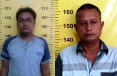 Dua tersangka pengedar narkotika jenis sabu yang berhasil dibekuk polisi. (foto:ist)