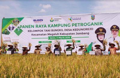 Direktur Pemasaran PG Meinu Sadariyo dan jajaran bersama Pemkab Jombang saat menggelar Panen Raya. (Foto/didik hendri)