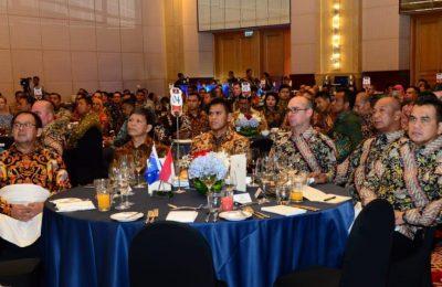 Kegiatan Lecture Night Ikatan Alumni Pertahanan Indonesia Australia (IKAHAN) di Hotel Ritz Carlton, Mega Kuningan, Jakarta Selatan, Selasa (26/3).