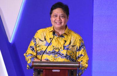 Menteri Perindustrian Airlangga Hartarto saat memberikan sambutan di pembukaan GIIAS 2019 di Surabaya, Jawa Timur, Jumat (29/3/2019).