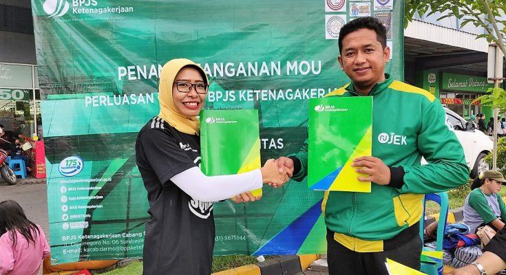 MoU BPJS dan Launching NU-JEK di Surabaya untuk memberikan pelayanan yang signifikan pada masyarakat. (Foto : istimewa)