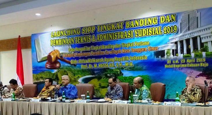 Acara peluncuran aplikasi Sistem Informasi Penelusuran Perkara (SIPP) Tingkat Banding di Labuan Bajo, Nusa Tenggara Timur, Senin (22/4/2019). (Ist)