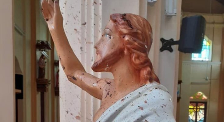 Bekas bekas ledakan bom di gereja St Anthony's Shrine Srilanka. (foto. Istimewa)