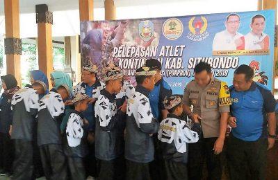 90 atlet Situbondo, saat pelepasan kontingen porprov VI Situbondo di pendopo kabupaten. (foto:fat)