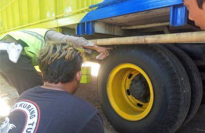 Petugas saat menunjuk ban truk yang melindas korban. (foto:fat)