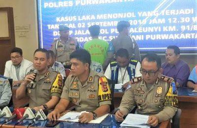 Polres Purwakarta, menetapkan dua sopir truk sebagai tersangka kecelakaan maut di tol Cipularang. (foto:ist)