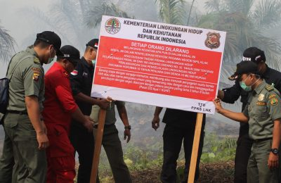 Tim Gakkum Kementerian Lingkungan Hidup dan Kehutanan. memasang plang peringatan untuk tidak melakukan aktivitas apapun di areal yang terbakar