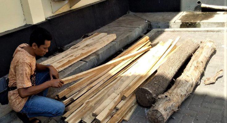 Barang bukti kayu jati curian yang diamankan petugas di Mapolres Situbondo. (foto:fat)