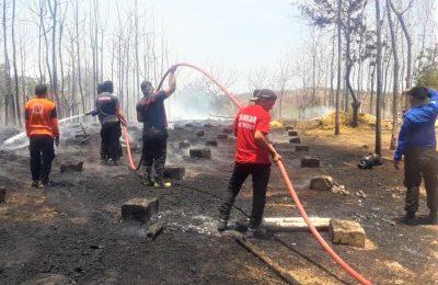 Petugas Damkar, saat memadamkan kobaran api dilokasi kejadian. (foto:fat)