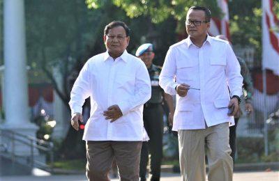 Prabowo Subianto bersama Wakil Ketua Umum Gerindra Edhy Prabowo. (foto:ist)