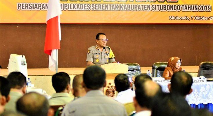 Kapolres AKBP Awan Hariono, saat rakor kesiapan pengamanan Pilkades serentak tahun 2019. (foto:fat)