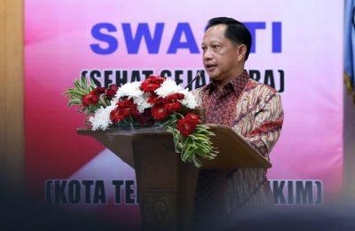 Mendagri Tito Karnavian di acara Penghargaan Swasti Saba Kabupaten/Kota tahun 2019 di Sasana Bhakti Praja, Gedung C Kemendagri, Jakarta, Selasa (19/11/2019). (Ist)