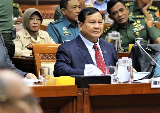 Menhan Prabowo Subianto saat Rapat Dengar Pendapat dengan Komisi I DPR. (foto:ist)