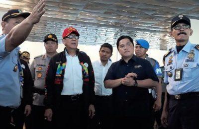 Menteri Hukum dan Ham, Yasonna Laolly bersama Menteri BUMN, Erick Tohir. (fotoList(