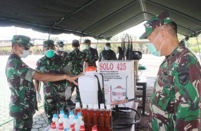 Cek persiapan alat penyemprotan disinfektan dan personil di Kodam XII Tanjungpura. (foto:das)