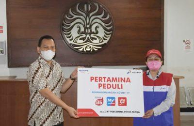 Pertamina Peduli melalui PT Pertamina Patra Niaga memberikan donasi bantuan Alat Perlindungan Diri Medis dan Multivitamin kepada Ikatan Alumni Universitas Indonesia Fakultas llmu Keperawatan (ILUNI Ul FIK), Selasa (31/3/2020)
