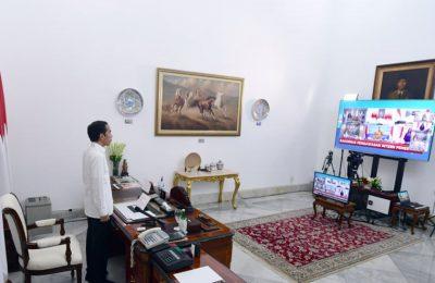 Presiden Joko Widodo pada Rapat Koordinasi Nasional Pengawasan Intern Pemerintah Tahun 2020 yang dilaksanakan secara telekonferensi dari Istana Merdeka, Jakarta, Senin (15/6/2020). (Ist)