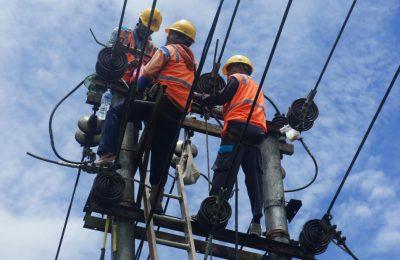 Petugas PLN saat memperbaiki jaringan listrik. (foto.das)